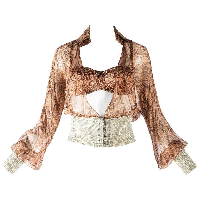 Dolce & Gabbana paisley chiffon blouse and bra with rhinestone mesh, S / S 2000