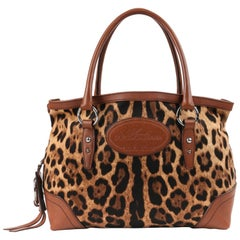 DOLCE & GABBANA Animalier Leopard Animal Print Canvas & Brown Leather Satchel