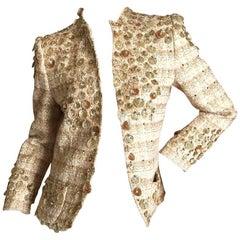 Oscar de la Renta Embellished Gold Sequin Flowers Evening Jacket