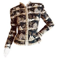 Oscar de la Renta Vintage Embellished Chinoiserie Beaded Evening Jacket
