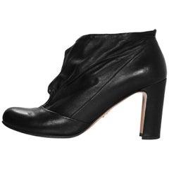 Prada Black Leather Booties Sz 37.5