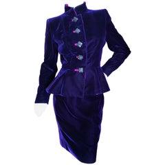 Yves Saint Laurent Rive Gauche 1970's Purple Velvet Suit w Hot Pink Moire Trim