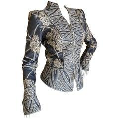 Oscar de la Renta Vintage Gray Leather Extravagant Metal Studded Evening Jacket