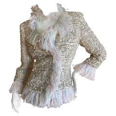 Oscar de la Renta Vintage Sequin Embellished Ostrich Feather Trim Evening Jacket