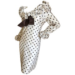 Pierre Balmain Haute Couture 1968 Polka Dot Ruffled Silk Dress