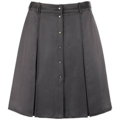 LOUIS VUITTON Charcoal Gray Silk Satin Studded Pleated Wrap Skirt