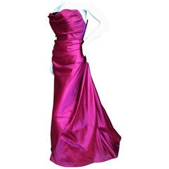 Bob Mackie Glamorous Magenta Ballgown with Crystal Beaded Accents, 1980s