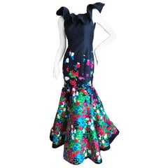 Oscar de la Renta Romantic Vintage Floral Embellished Black Silk Mermaid Dress