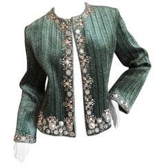 Oscar de la Renta Vintage Green Evening Jacket with Embellished Flowers