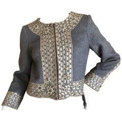 Oscar de la Renta Vintage Embellished Cropped Gray Cashmere Evening Jacket