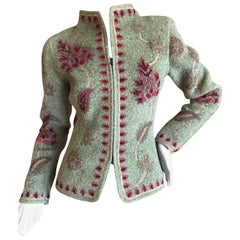 Oscar de la Renta Vintage Loden Green Cashmere Jacket with Foliage Applique