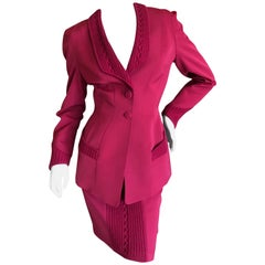 Thierry Mugler Vintage 1980's Red Suit with Cable Knit Trim