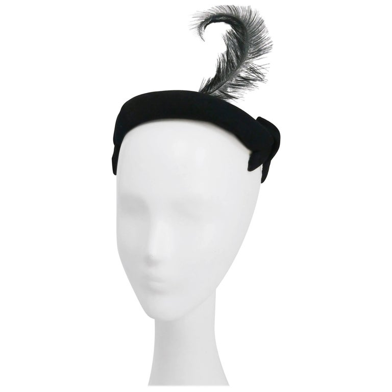 1950s Black Cashmere Felt Cocktail Hat