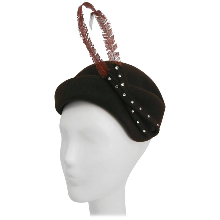 1950 Brown Felt hat with Feather and Rhinestone Embellishment