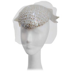 1980's Mr. John Cream Sequin Hat with Veil