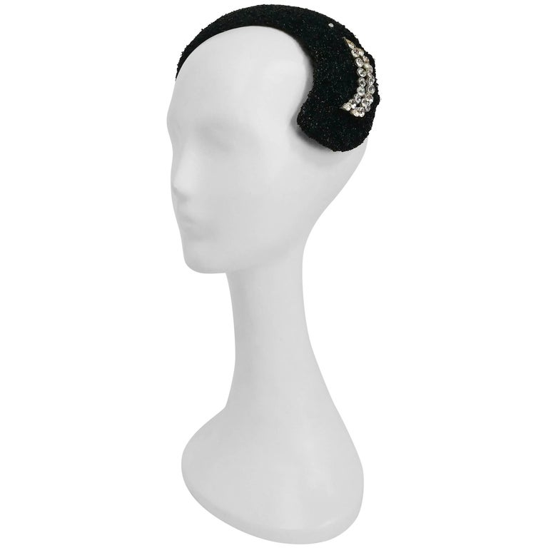 1950s Black I. Magnin Cocktail Hat with Rhinestone Crescent Moon