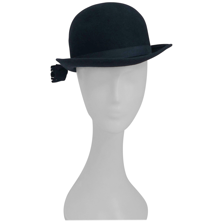 1960s Adolfo Navy Cashmere Felt Hat with Flower Accent