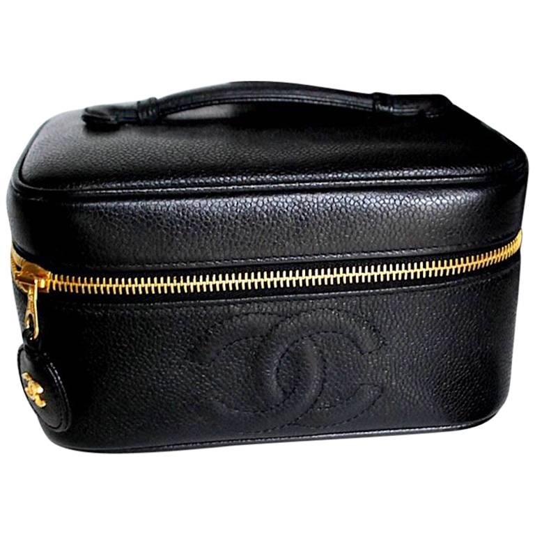 Chanel Vintage black caviar cosmetic toiletry and party vanity bag