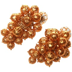 Dolce and Gabbana Golden Bunch Clip On Earrings