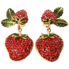 Dolce and Gabbana Strawberry Clip-On Earrings