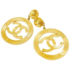 Chanel Vintage Jumbo Gold Dangling Earrings