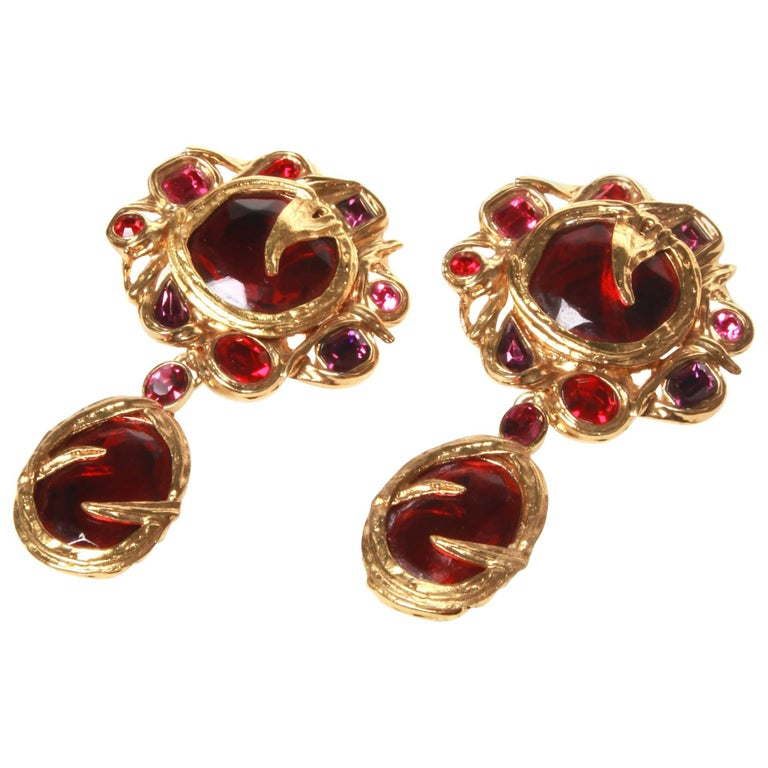 01010a06294 Saint Laurent YSL Opulent Clip On Earrings For Sale. Vintage Robert Goossens  ...