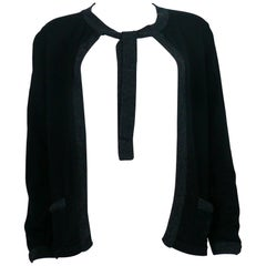 Chanel Employee Uniform Black Wool Cardigan with CC Logo Size M