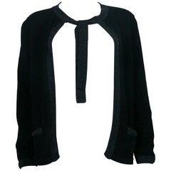 Chanel Employee Uniform Black Wool Cardigan with CC Logo Size M
