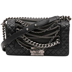 "Chanel ""Boy Enchained"" Supple Black Lamb Leather Bag"