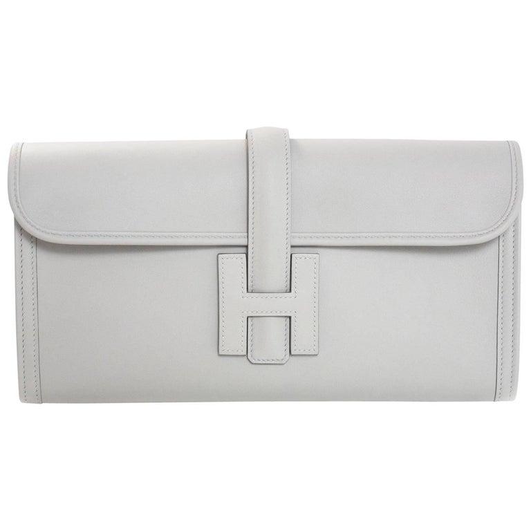 Hermes 2017 Beton Off-White Swift Leather Jige Elan 29cm Clutch Bag