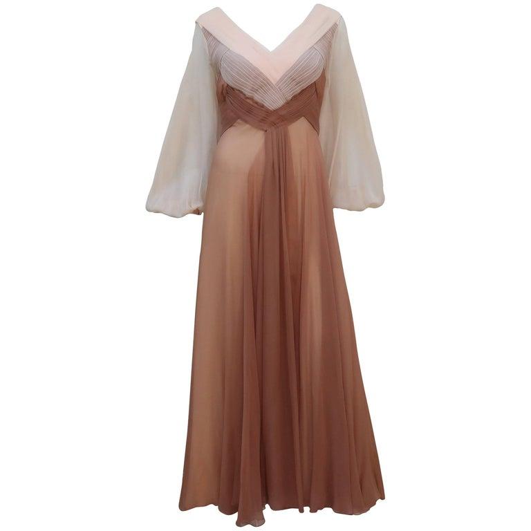 C.1970 Richilene Silk Chiffon Goddess Evening Dress