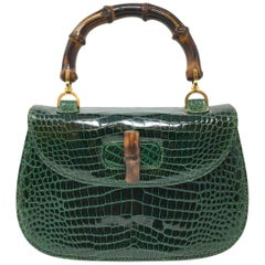 Gucci  Vintage Bamboo Green Crocodile Leather Bag
