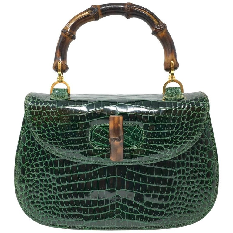 d808cdcd6145 Gucci Vintage Bamboo Green Crocodile Leather Bag at 1stdibs