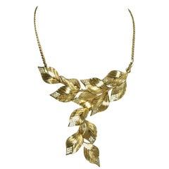 Vintage Signed Christian Dior Leaf & Crystal Bib Necklace