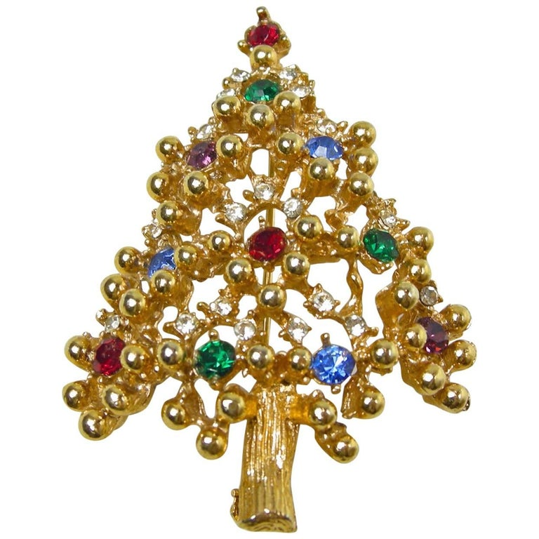Vintage Signed Eisenberg Christmas Tree Pin For Sale - Vintage Signed Eisenberg Christmas Tree Pin At 1stdibs