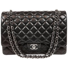 Chanel Black Lambskin Classic Maxi Double Flap Bag with Silver Hardware