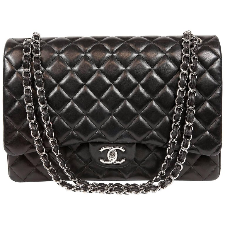 adc1a0c1ce85 Chanel Black Lambskin Classic Maxi Double Flap Bag with Silver Hardware For  Sale