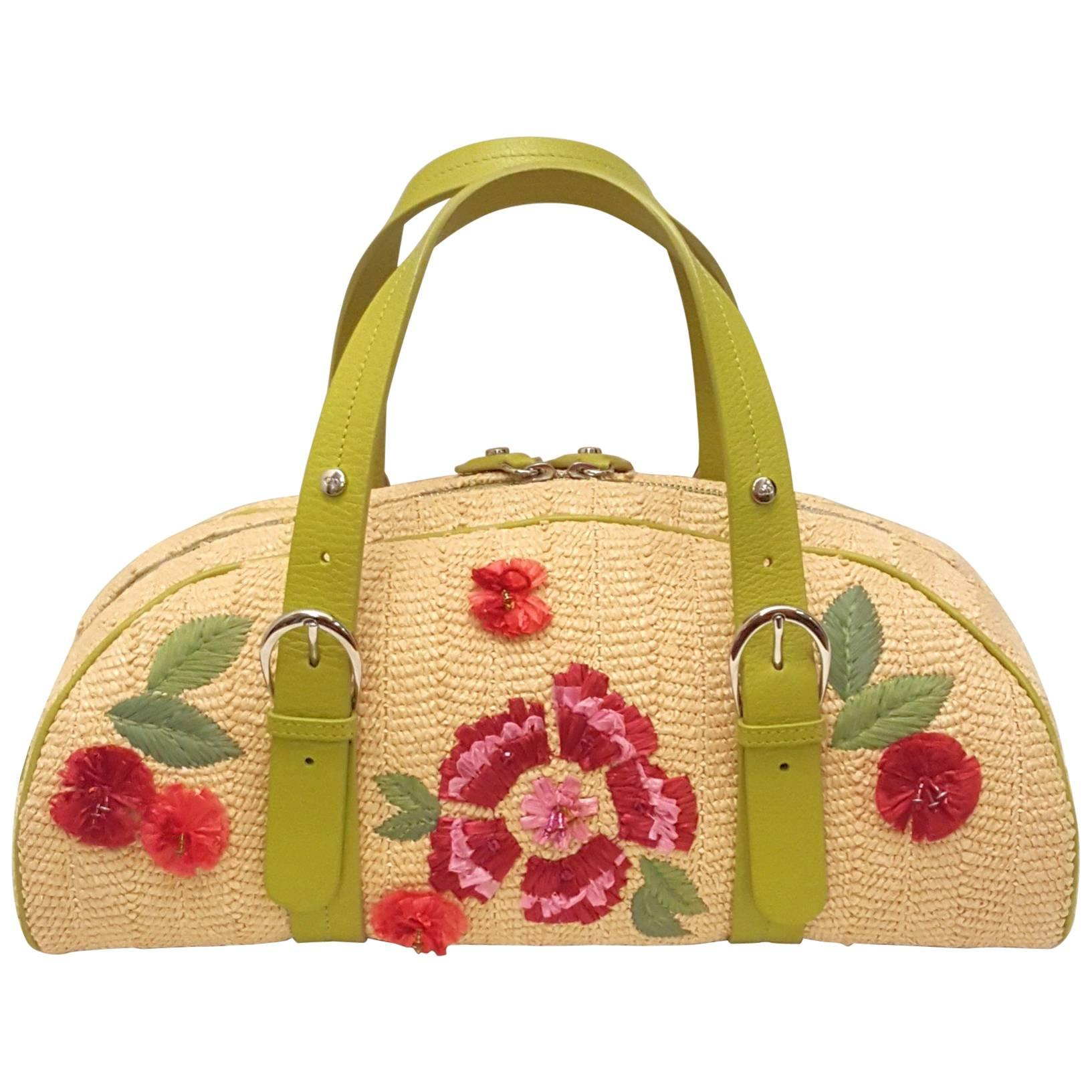 Flowery Christian Dior Straw Bag with Raffia Flowers Top Handle Bag For Sale