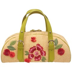 Flowery Christian Dior Straw Bag with Raffia Flowers Top Handle Bag