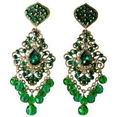 DeMario Vintage Green Dangling Earrings, 1960s