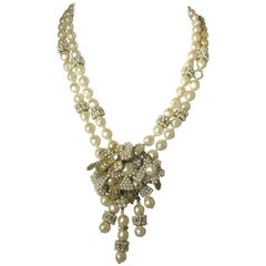 Miriam Haskell Vintage Faux Pearl Double Strand Floral Drop Necklace