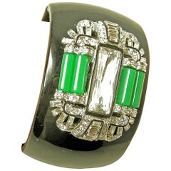 Signed Kenneth Jay Lane Deco Style Clamper Bracelet With Faux Jade