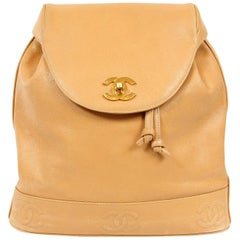 Chanel Camel Caviar Leather Backpack
