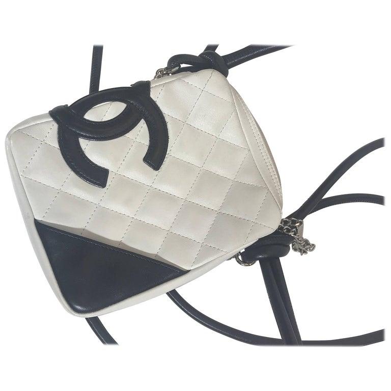 Chanel Cambon White/Black Leather Cross Body Bag