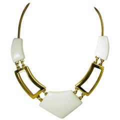 Vintage Signed Monet White Enamel Moderne Necklace