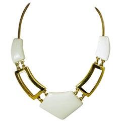Monet Vintage Signed White Enamel Moderne Necklace
