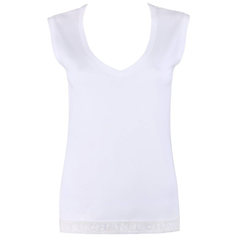 CHANEL White Knit Signature Lace Hem Extended Shoulder V Neck Tee Shirt Top