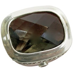 Vintage Sterling Silver Ring with Faux Smoky Quartz Center