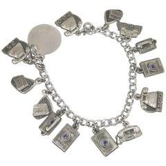 Vintage Sterling Silver Telephone Charm Bracelet