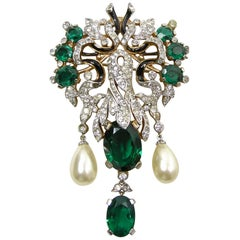 Vintage Rare Trifari 1940s Empress Eugenie Large Dangling Brooch